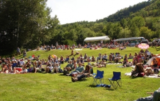 Audience on the lawn at Valley Stage Music Festival in Huntington, Vermont
