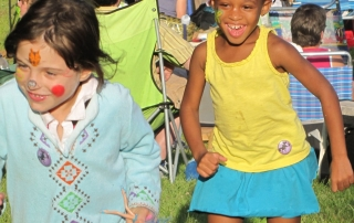 Happy kids at Valley Stage Music Festival in Huntington Vermont