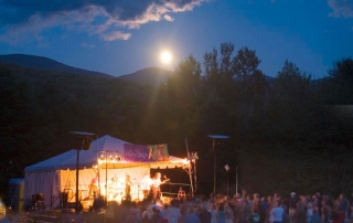 Valley Stage Music Festival, Huntington, Vermont under a full moon